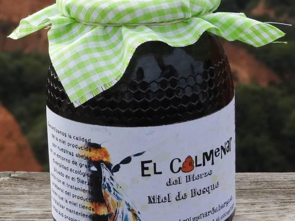 Tarro de miel de bosque sobre fondo de las médulas